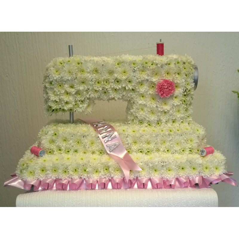 Sewing Machine Made With Chys And Carnations