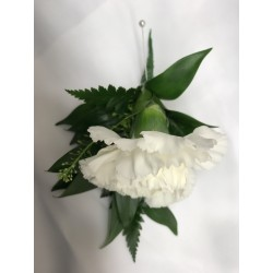 Gents White Carnation  Button Hole