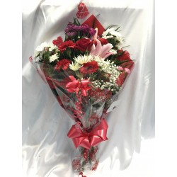Valentines Mixed Seasonal Bouquet Including 1 Red Rose