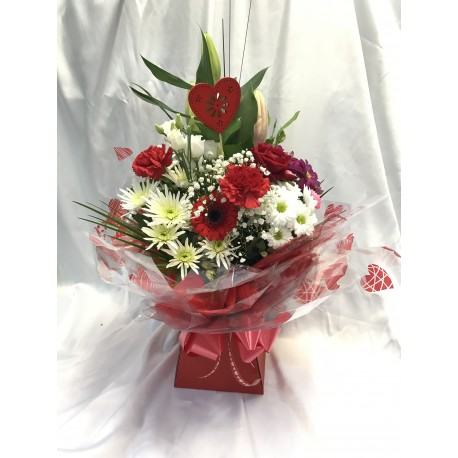 Valentines Seasonal Aqua Pack Including 1 Red Rose