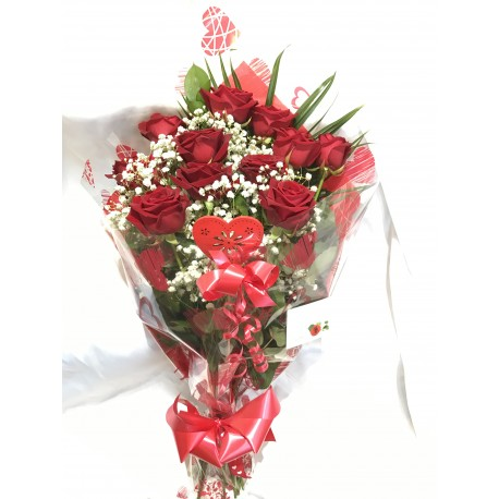 12 Long Stem Red Roses With Foliage And Gyp Bouquet