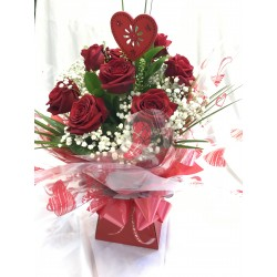 12 Red Roses Foliage And gyp In Aqua Pack