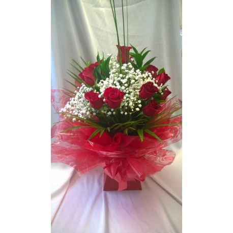 Dozen Red Roses in an Aqua Pack