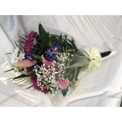 Seasonal Funeral Spray Pink and White