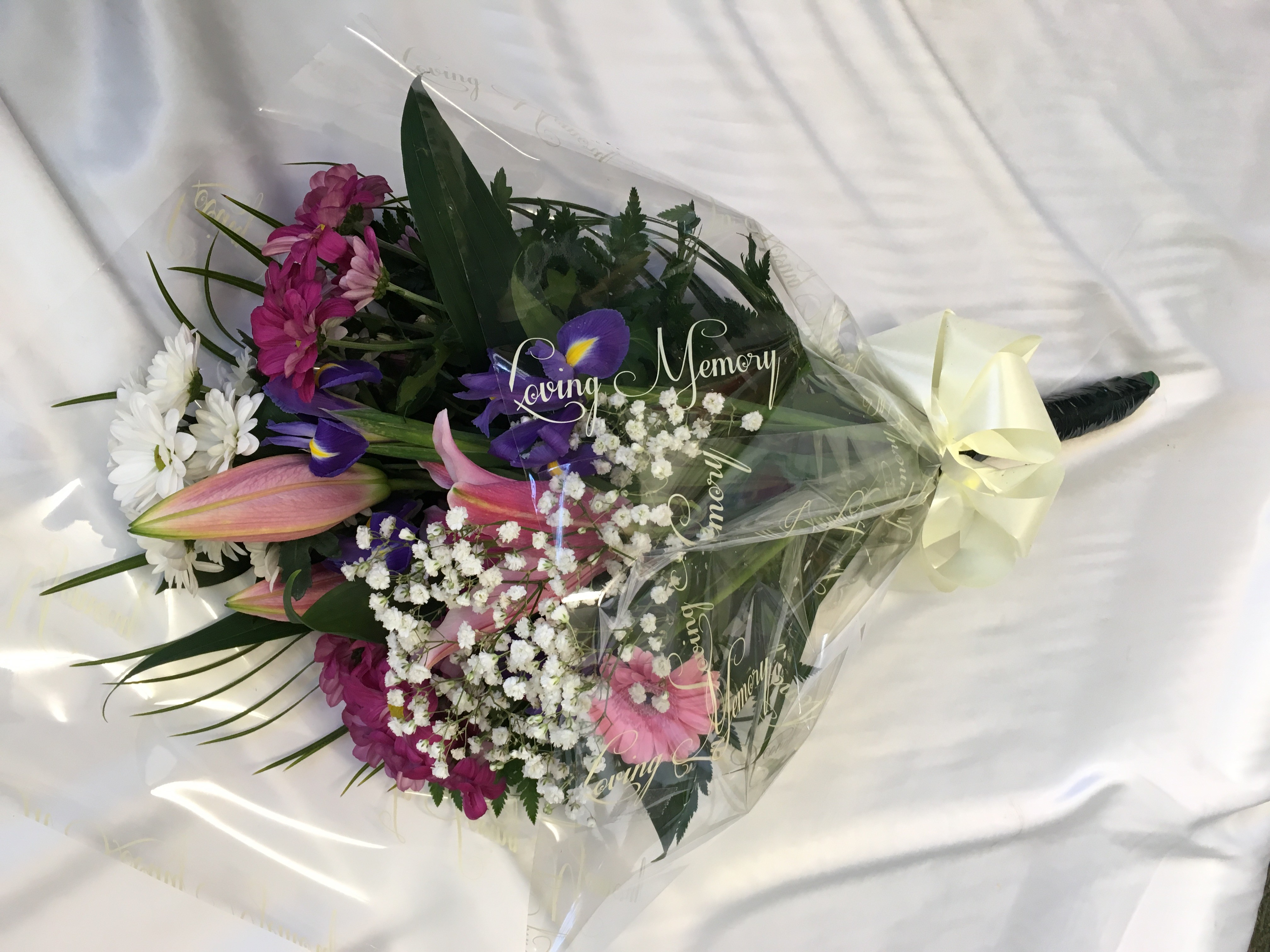 Seasonal Funeral Spray Pink And White Personal Flowers Of Crewe
