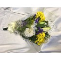 Seasonal Funeral Spray Yellow and Blue