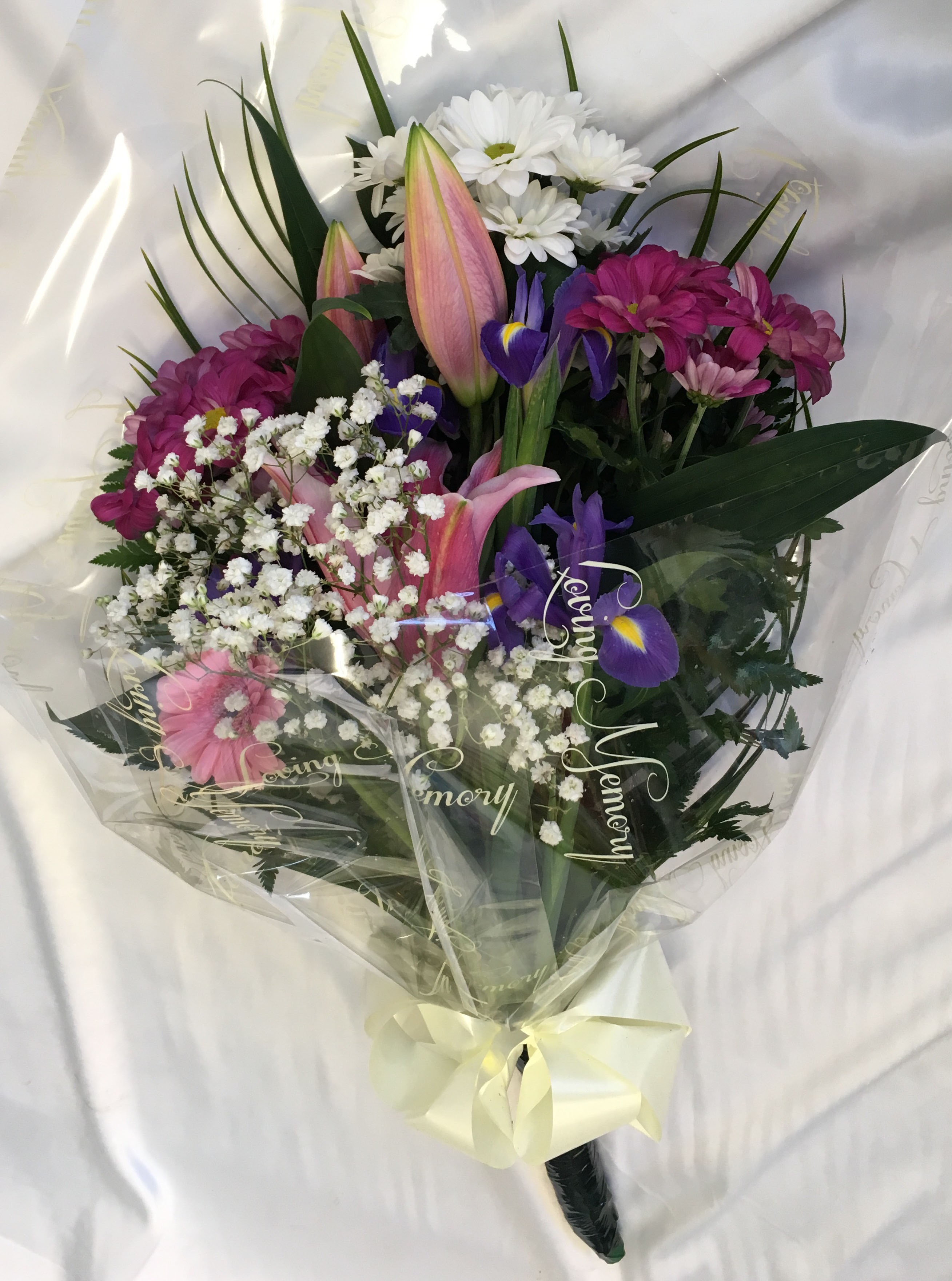 Blue And Purple Funeral Spray Personal Flowers Of Crewe