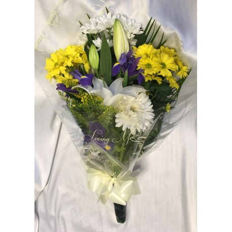 Yellow and White Funeral Spray