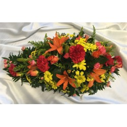Single Ended Red and Yellow Funeral Spray